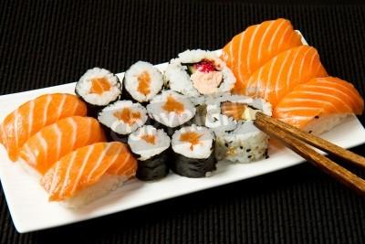 Poster Sushi über schwarz Set