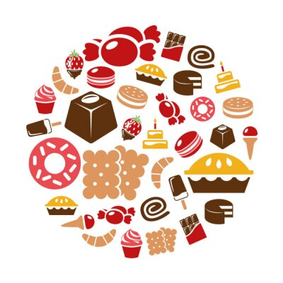 Poster Süßigkeiten Symbole im Kreis