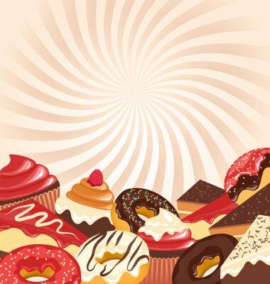 Poster Süßwaren mit radialen Streifen auf beige Hintergrund