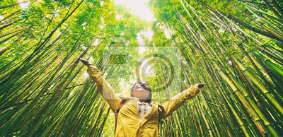 Poster Sustainable eco-friendly travel tourist hiker walking in natural bamboo forest happy with arms up in the air enjoying healthy environment renewable resources.