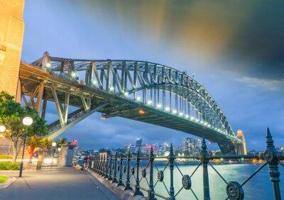 Poster Sydney, Neusüdwales. Amazing Sonnenuntergang Blick auf Harbour Bridge