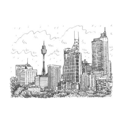 Poster Sydney Tower und Wolkenkratzer Blick auf Sydney, Australien. Vector Freihand-Bleistiftskizze.