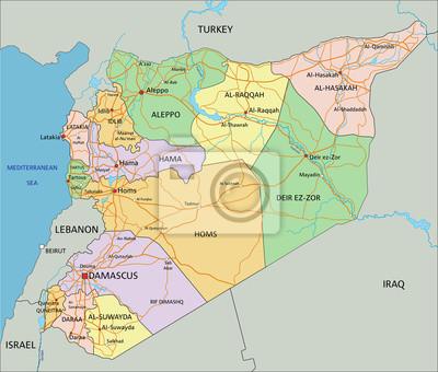 Karte Syrien.Poster Syrien Sehr Detaillierte Bearbeitbare Politische Karte Mit