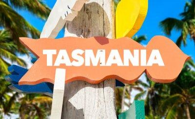Poster Tasmanien willkommenes Schild mit Palmen
