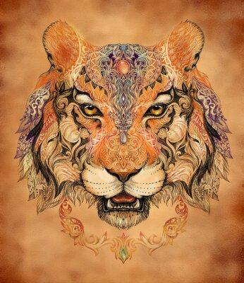 Poster Tattoo, Grafik Kopf eines Tigers