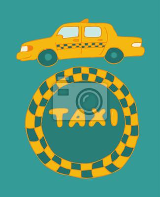Taxi-Zeichen, Vektor-Illustration, Hand gezeichnet