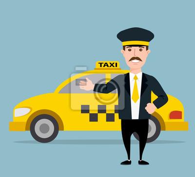 Poster Taxifahrer. gelben Taxi