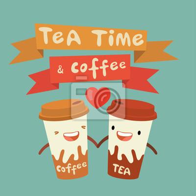 Tee und Kaffee, Liebesgeschichte, Handzeichnung