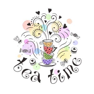 Poster Tee Zeit Plakat Konzept. Tee-Party-Kartenentwurf. Hand gezeichnet Gekritzelabbildung mit Teekannen, Schalen und Bonbons.