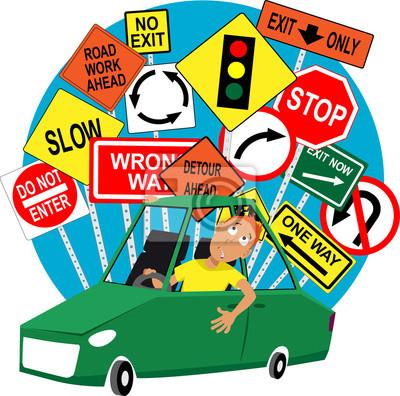 Poster Teenage Fahrschule Schüler Sitzt Im Auto Straßenverkehr Zeichen