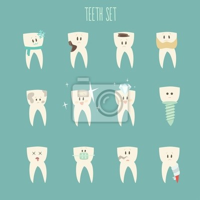 teeth  icon set, (concept of healthy)  vector illustration