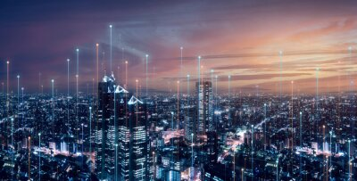 Poster Telecommunication connections above smart city. Futuristic cityscape concept for internet of things (IoT), fintech, blockchain, 5G LTE network, wifi hotspot access, cyber security, digital technology