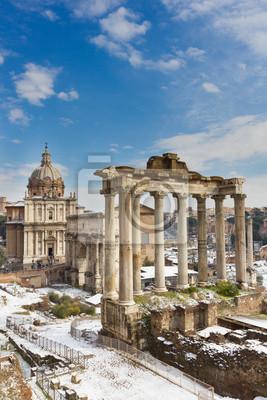 Tempel des Saturn und andere Denkmal des Forum Romanum, Italien.