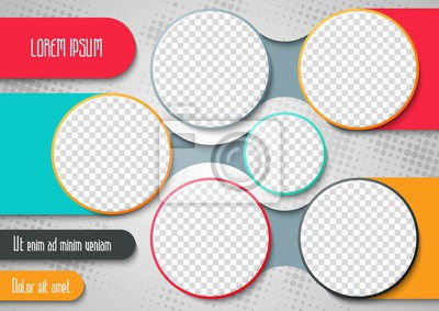 Poster Template for photo collage or infographic in modern style. Frames for clipping masks is in the vector file. Template for a photo album with circle shapes frames