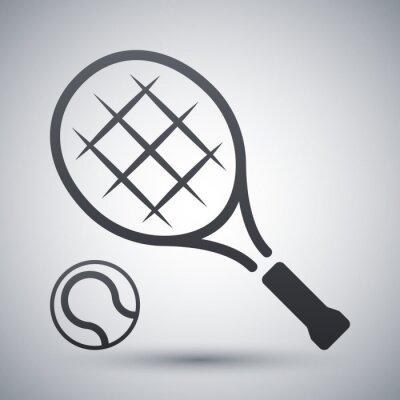 Poster Tennis-Schläger und Tennis-Ball, Vektor-Symbol