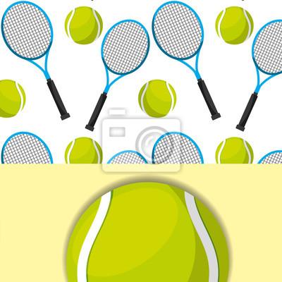 Poster Tennisschläger und Ball Sport Wettbewerb Muster Vektor-Illustration