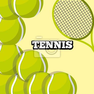 Poster Tennisschläger und Bälle tragen Hintergrunddesignvektorillustration zur Schau