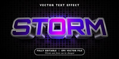 Poster Text effects 3d storm, editable text style