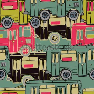 Poster Textilnahtloses Muster von farbigen Bussen