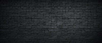 Poster Texture of a black painted brick wall as a background or wallpaper