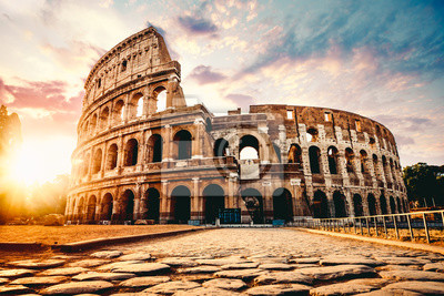 Poster The ancient Colosseum in Rome at sunset