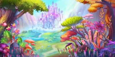 Poster The Forest and Castle. Mountain and River. Fiction Backdrop. Concept Art. Realistic Illustration. Video Game Digital CG Artwork. Nature Scenery.