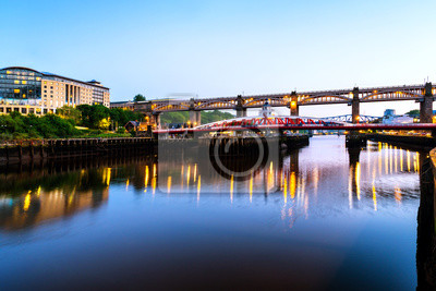 The High Level and Tyne bridge over the river in Newcastle, England, UK