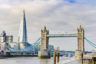 Poster The Shard and Tower Bridge on Thames river in London, UK