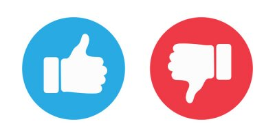 Poster Thumbs up and thumbs down circle emblems. Like and dislike icons. illustration