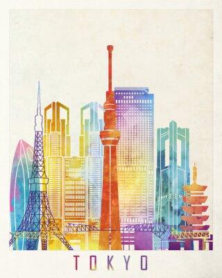 Poster Tokio Sehenswürdigkeiten Aquarell Poster