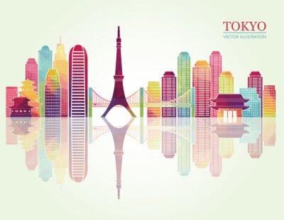 Poster Tokyo detaillierte Skylines. Abbildung