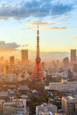 Poster Tokyo Skyline der Stadt bei Sonnenuntergang in Tokyo