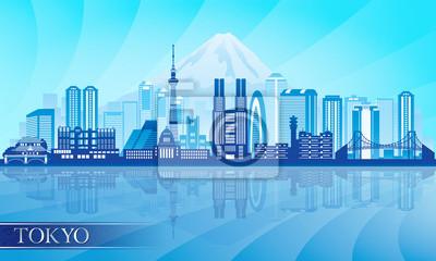 Tokyo Skyline detaillierte Silhouette