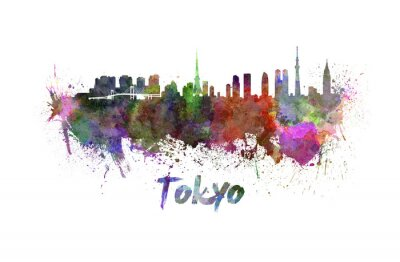 Poster Tokyo Skyline in Aquarell