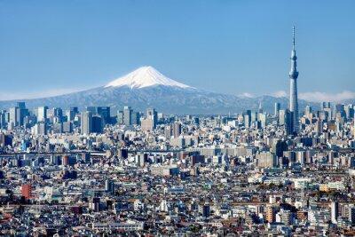 Poster Tokyo Skyline mit Mount Fuji und Skytree