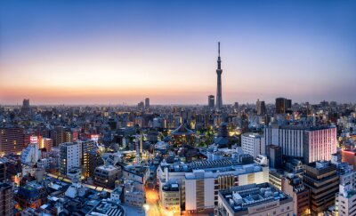 Poster Tokyo Skyline mit Skytree