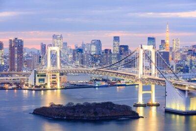 Poster Tokyo Skyline mit Tokyo-Turm und Regenbogen-Brücke