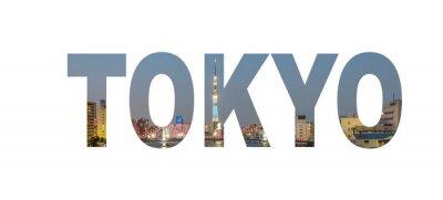 Poster Tokyo Stadt Namenschild mit Foto im Hintergrund. Isoliert auf weißem Hintergrund ..