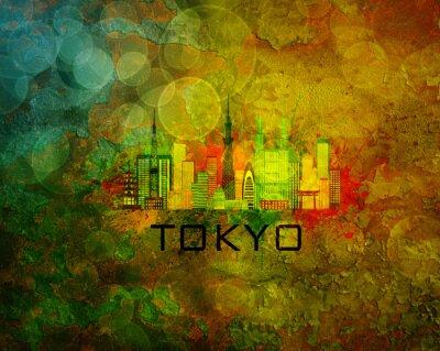 Poster Tokyo Stadt Skyline auf Grunge Hintergrund Illustration