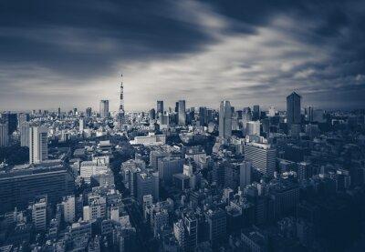 Poster Tokyo-Stadtansicht und Tokyo Tower in dunklen Ton