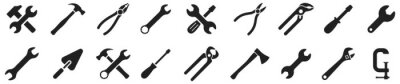 Poster Tools icons set. Instruments signs collection. Tool simple icon. Vector illustration