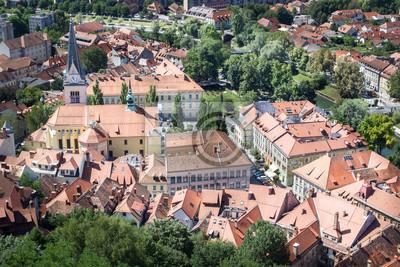Top-Blick auf die Altstadt von Ljubljana, Slowenien.