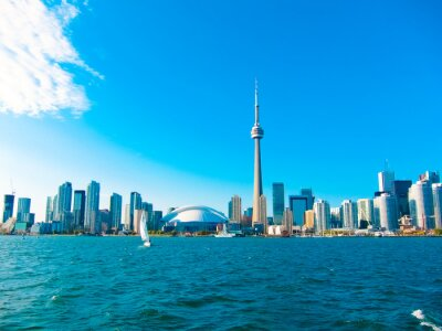 Poster Toronto city skyline from the ferry travels to center island