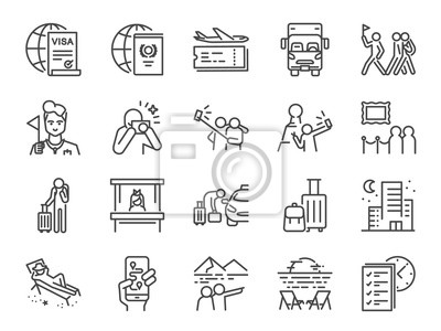 Poster Tourism line icon set. Included icons as tourist, guide, traveler, vacation and more.