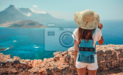 Poster Tourism, travel, vacation on the rocky sea.