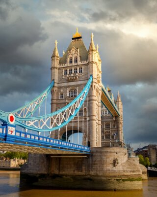 Tower bridge at cloudy day, London