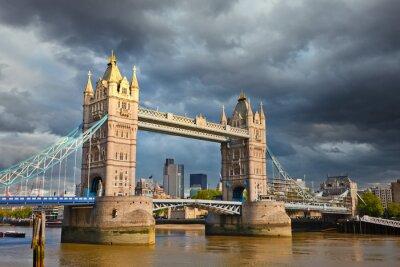 Tower bridge under stormy sky, London