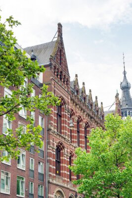 Traditional Cathedral building in  Amsterdam, Netherlands