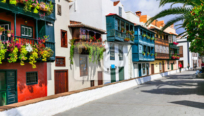 Traditional colonial architecture of Canary islands . capital of La palma - Santa Cruz with colorful balconies