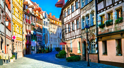 Traditional half-timbered houses in old town of Nurnberg. Travel in Germany